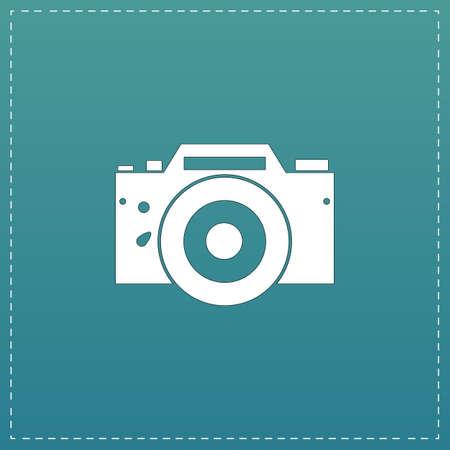 whim: Digital photo camera White flat icon with black stroke on blue background Illustration