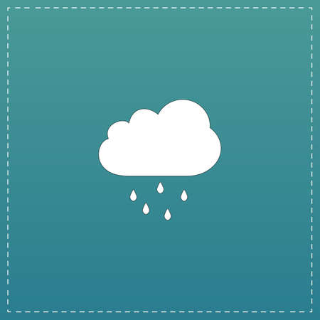 drench: Cloud with rain. White flat icon with black stroke on blue background