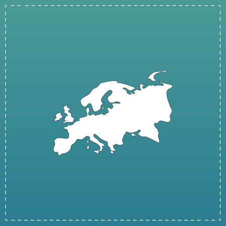 eurasia: Eurasia map. White flat icon with black stroke on blue background Illustration