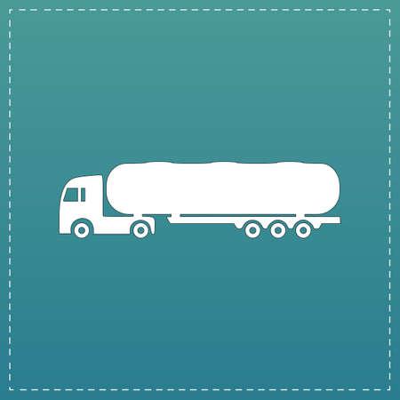 crisper: Tank car. Trailer White flat icon with black stroke on blue background