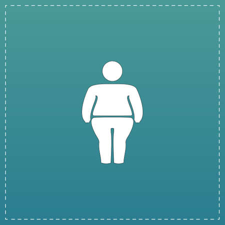 stocky: Overweight man symbol. White flat icon with black stroke on blue background