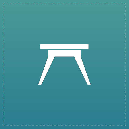 soiree: Small table. White flat icon with black stroke on blue background