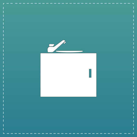 runny: Kitchenware sink basin. White flat icon with black stroke on blue background