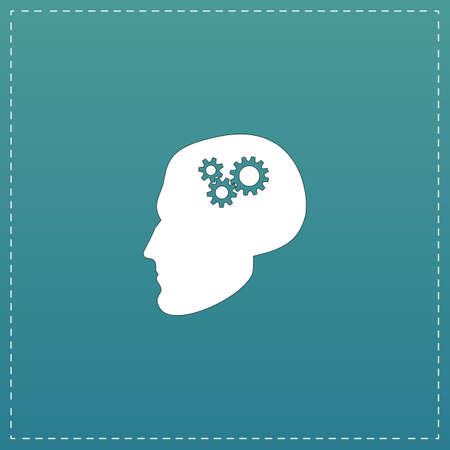 hybrid: Human head gear hybrid knowledge. White flat icon with black stroke on blue background