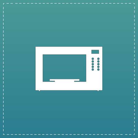 microondas: Horno microondas. Blanco icono plana con trazo negro sobre fondo azul Vectores