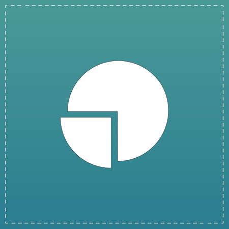 Cirkeldiagram. White flat icoon met zwarte streep op een blauwe achtergrond