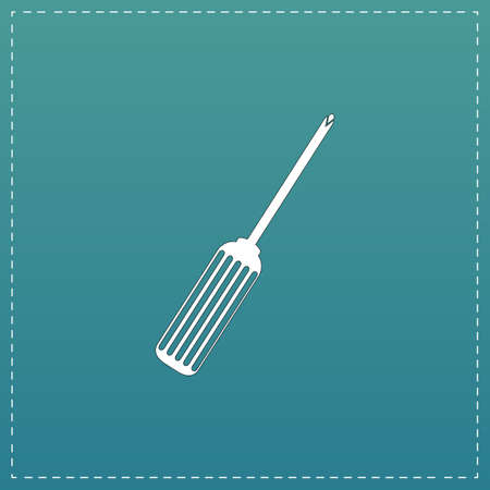 turnscrew: Pocket phillips screwdriver. White flat icon with black stroke on blue background