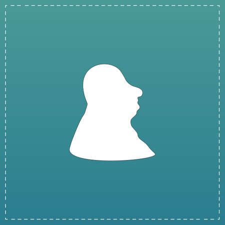 Full face fat man. White flat icon with black stroke on blue background