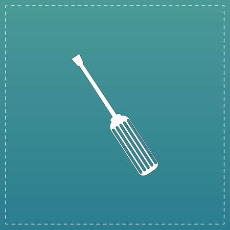 Screwdriver. White flat icon with black stroke on blue background