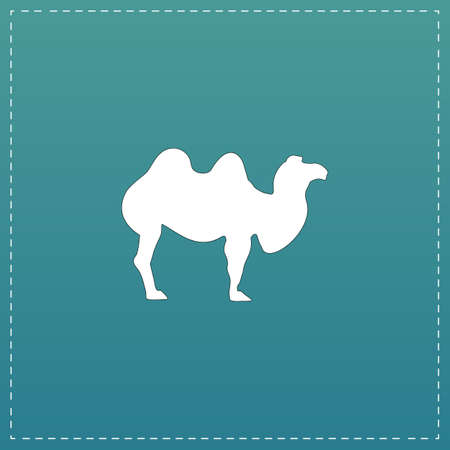 Camel. White flat icon with black stroke on blue background Illustration