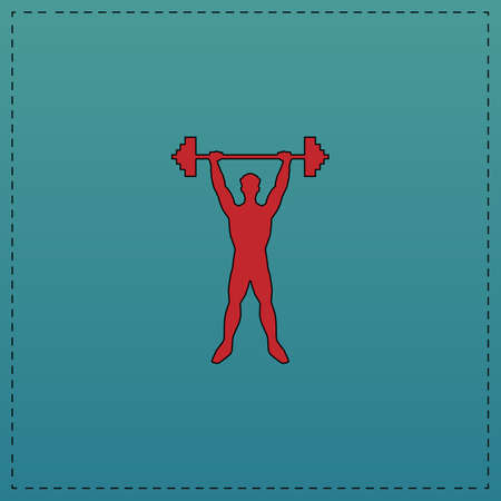 strongman: Strongman Red vector icon with black contour line. Flat computer symbol on blue background Illustration