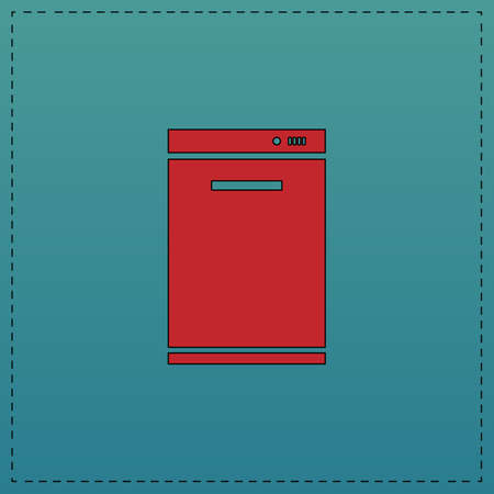 dishwasher: dishwasher Red vector icon with black contour line. Flat computer symbol on blue background Illustration