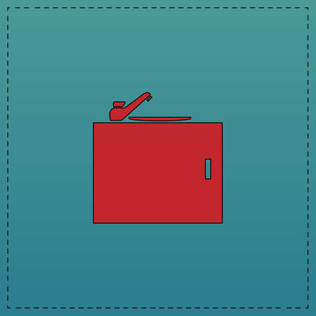 pedestal sink: sink Red vector icon with black contour line. Flat computer symbol on blue background