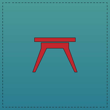 soiree: Camping table Red vector icon with black contour line. Flat computer symbol on blue background Illustration
