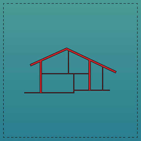 tenancy: cottage Red vector icon with black contour line. Flat computer symbol on blue background Illustration