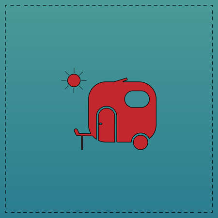 trailer Red vector icon with black contour line. Flat computer symbol on blue background Illustration