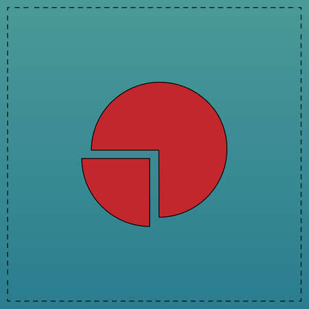 Pie chart Red vector icon with black contour line. Flat computer symbol on blue background Illustration