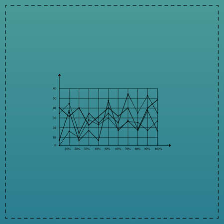graphs Red vector icon with black contour line. Flat computer symbol on blue background