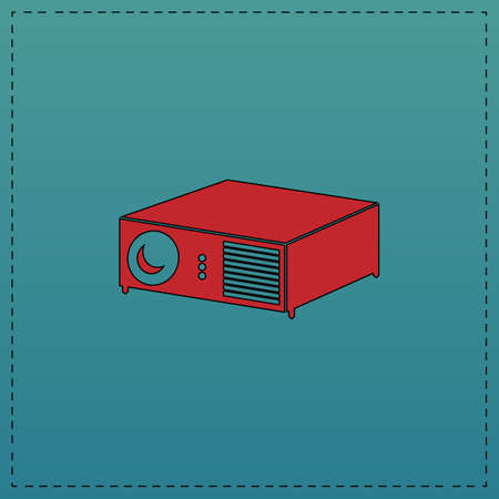 Projector Red vector icon with black contour line. Flat computer symbol on blue background