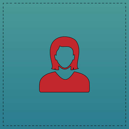 user icon: Female user Red vector icon with black contour line. Flat computer symbol on blue background
