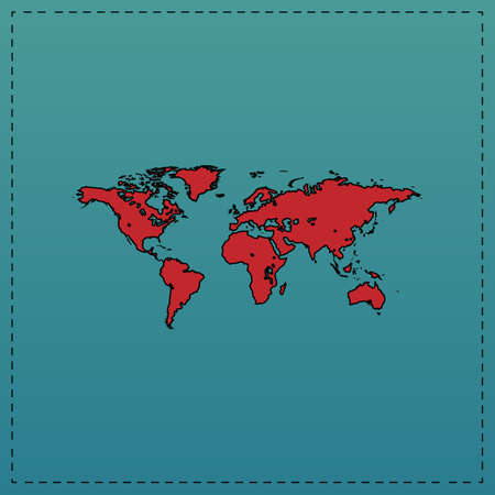 World Map Red vector icon with black contour line. Flat computer symbol on blue background Illustration