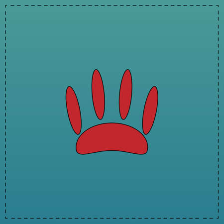 Animal footprint Red vector icon with black contour line. Flat computer symbol on blue background Illustration