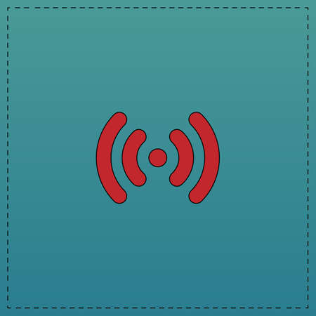 Wi-Fi Red vector icon with black contour line. Flat computer symbol on blue background Illustration