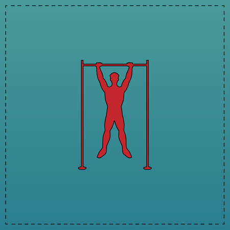 telamon: athlete Red vector icon with black contour line. Flat computer symbol on blue background Illustration