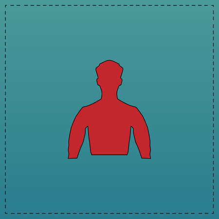 unnamed: Unknown male Red vector icon with black contour line. Flat computer symbol on blue background Illustration