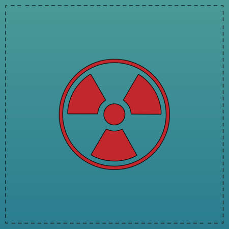 caution chemistry: Radiation Red vector icon with black contour line. Flat computer symbol on blue background