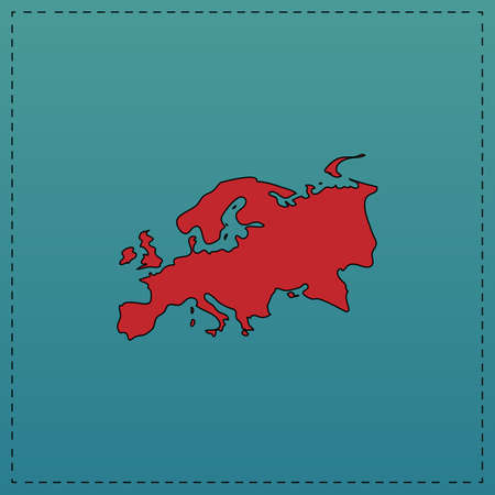 Eurasia Red vector icon with black contour line. Flat computer symbol on blue background
