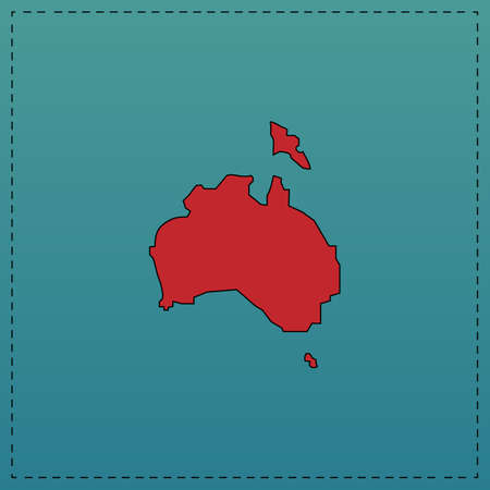 Australia Red vector icon with black contour line. Flat computer symbol on blue background