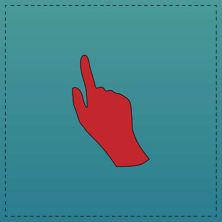 hand red: Mouse hand Red vector icon with black contour line. Flat computer symbol on blue background