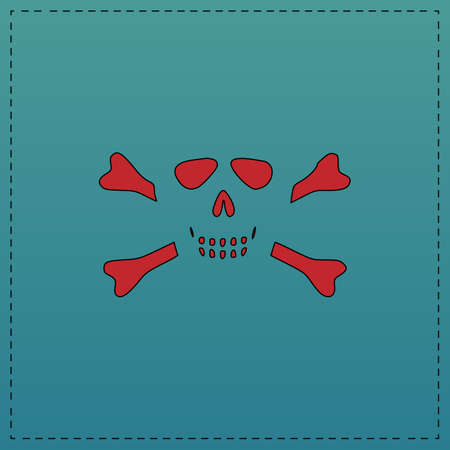 Skull crossbones Red vector icon with black contour line. Flat computer symbol on blue background