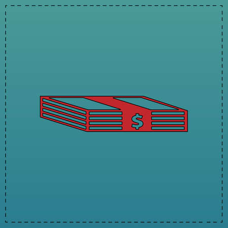 Bundle of Dollars Red vector icon with black contour line. Flat computer symbol on blue background