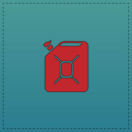 refueling: Jerrycan oil Red vector icon with black contour line. Flat computer symbol on blue background Illustration