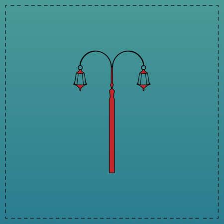 lighting column: Street Light Red vector icon with black contour line. Flat computer symbol on blue background Illustration