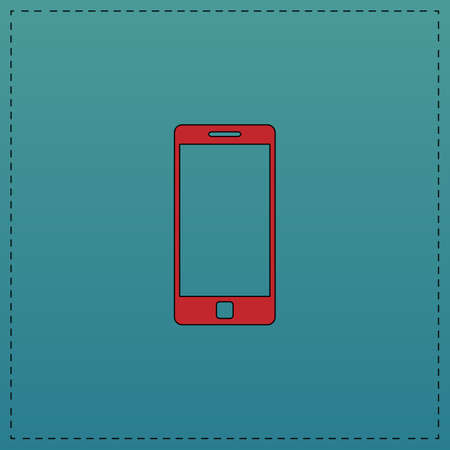 Mobile gadget Red vector icon with black contour line. Flat computer symbol on blue background