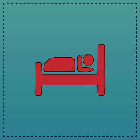 Hotel Red vector icon with black contour line. Flat computer symbol on blue background