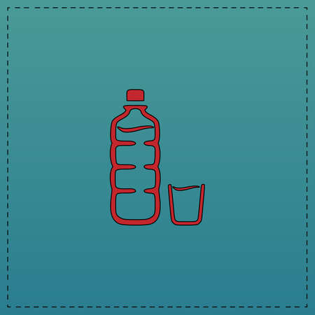 alcohol series: Plastic bottle Red vector icon with black contour line. Flat computer symbol on blue background Illustration