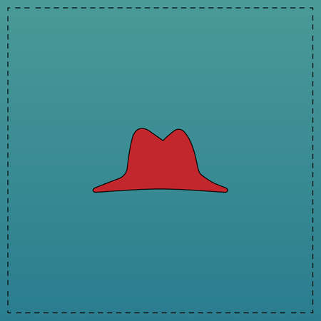 hat Red vector icon with black contour line. Flat computer symbol on blue background Illustration