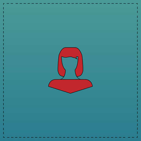 frizz: Girl head Red vector icon with black contour line. Flat computer symbol on blue background