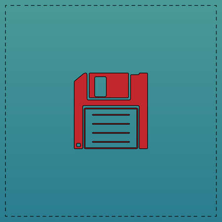 outdated: Floppy disk Red vector icon with black contour line. Flat computer symbol on blue background