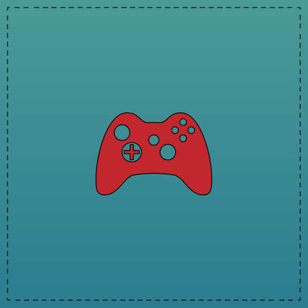 Gamepad Red vector icon with black contour line. Flat computer symbol on blue background
