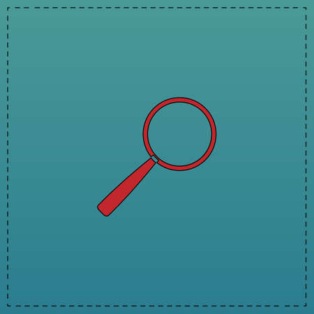 Magnify Red vector icon with black contour line. Flat computer symbol on blue background Illustration