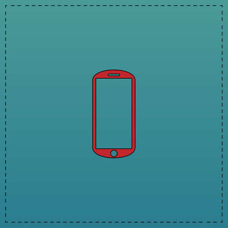 mobile Red vector icon with black contour line. Flat computer symbol on blue background
