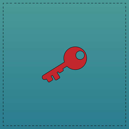Old key Red vector icon with black contour line. Flat computer symbol on blue background Illustration