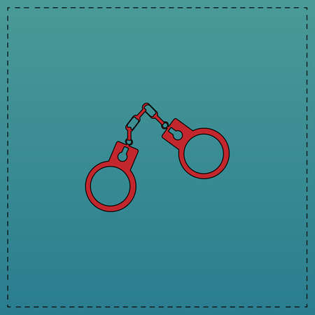Handcuffs Red vector icon with black contour line. Flat computer symbol on blue background