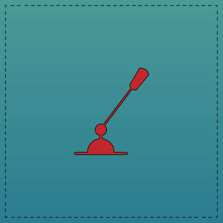 Computer microphone Red vector icon with black contour line. Flat computer symbol on blue background Illustration