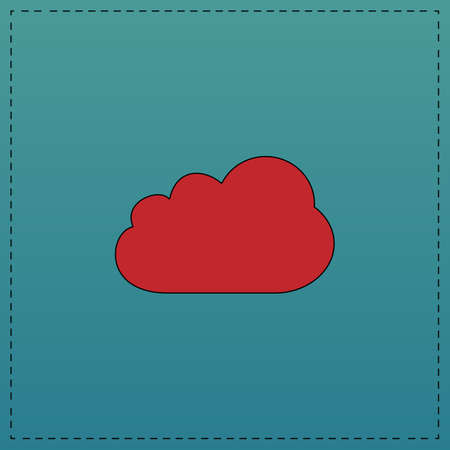 simplus: Cloud Red vector icon with black contour line. Flat computer symbol on blue background Illustration